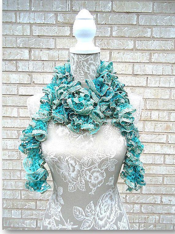 Crochet Ruffle Scarf, Aqua Green Crochet Scarf, Sashay Scarf, Ruffle ...