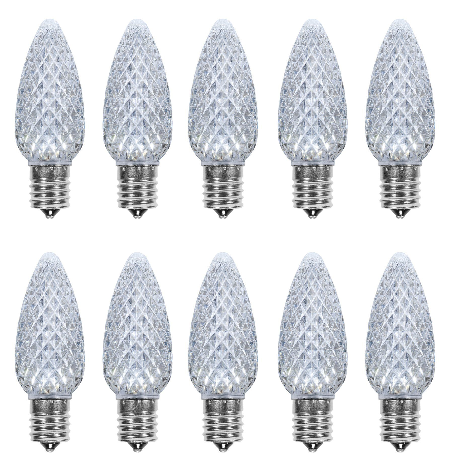 pack of 25 led c9 cool white replacement christmas light bulbs for light strand commercial grade dimmable holiday bulbs 5 diode leds in each bulbs