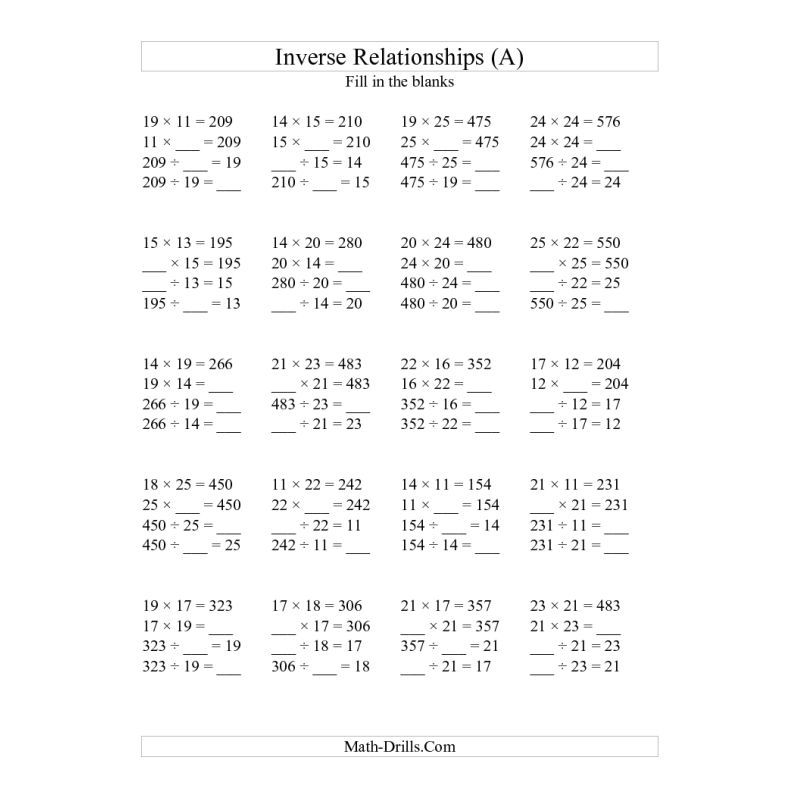 Algebra Worksheet  Inverse Relationships  Multiplication And