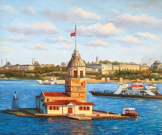 Kiz Kulesi Yağli Boya Resim Paiting Pinterest Painting