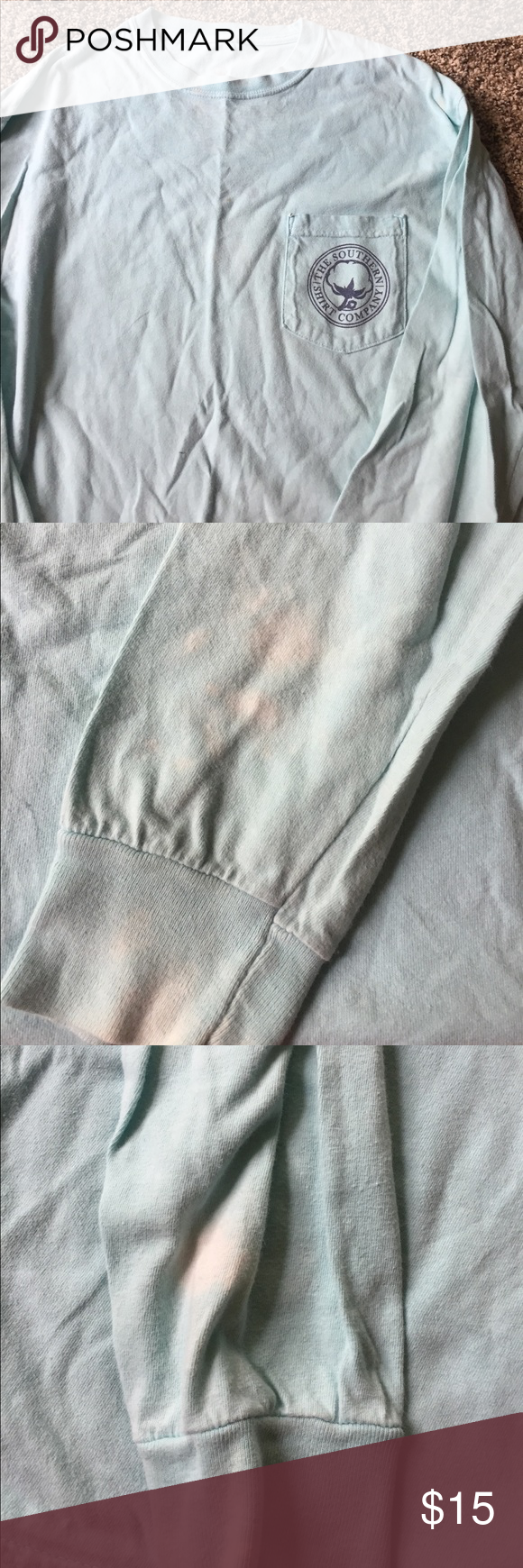 The southern shirt company Has bleach stains from left over