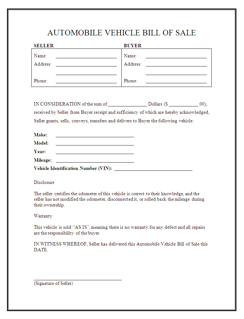 Printable Sample Car Bill of Sale Form | Legal Template Online ...