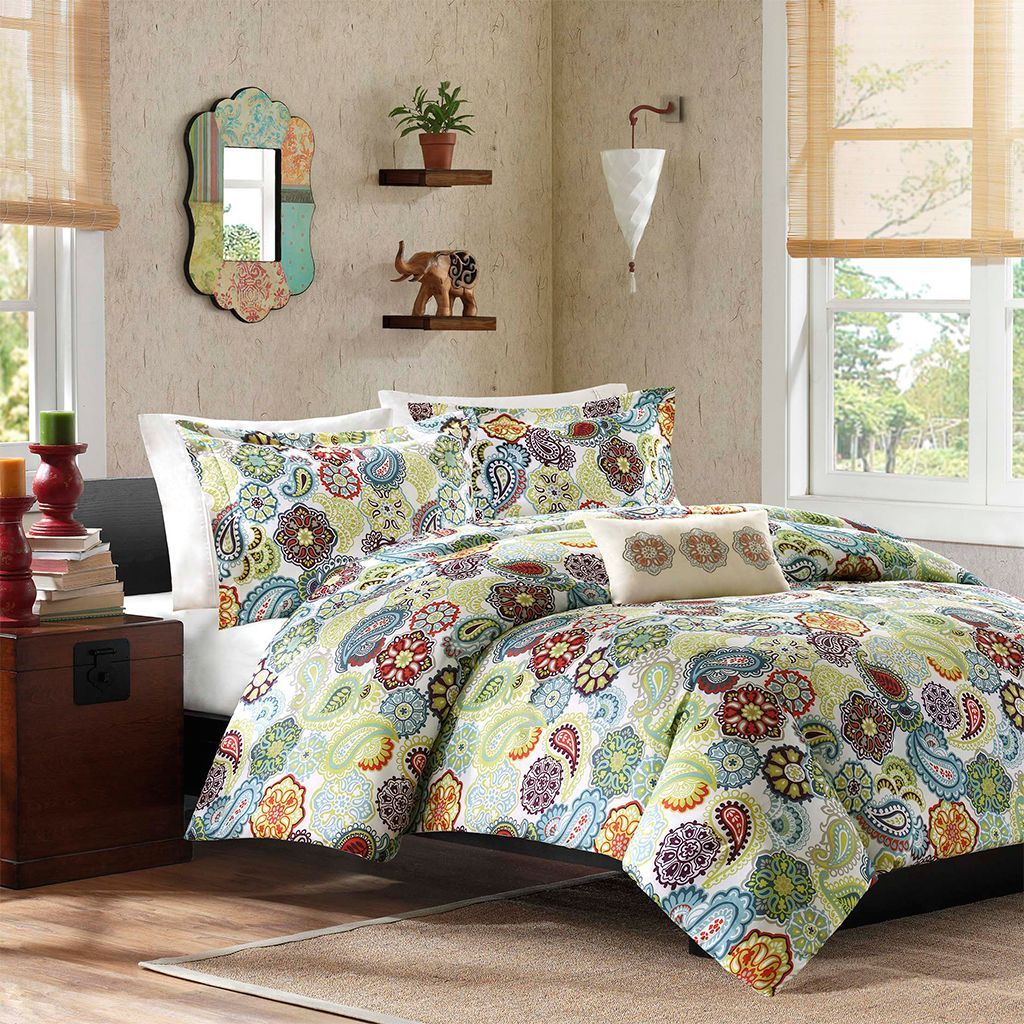 mi zone asha piece duvet cover set by mizone  contemporary  - featuring a floral pattern with medallions mixed in this fourpiece duvetcover set
