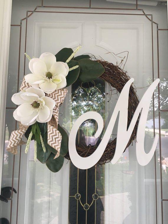 Photo of Wreaths for Front Door Year Round Magnolia Wreath Farmhouse Wreath Spring Wreath Summer Wreath Monogram Wreath Rustic Wreath Gift Ideas
