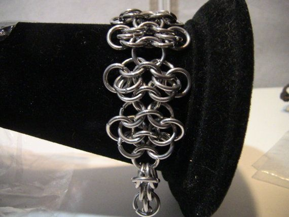 Chainmaille Rosette Bracelet for all occasions. Elegantly Simple. Show Off your Own Chainmail Bracelet with this Rosette style maille weave.