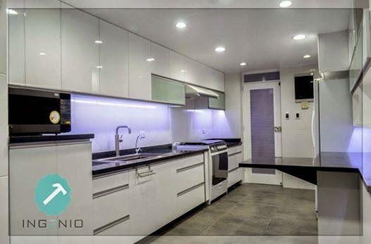 Mueble cocina alto y bajo con estructura en melamine color for Muebles bajos cocina negro