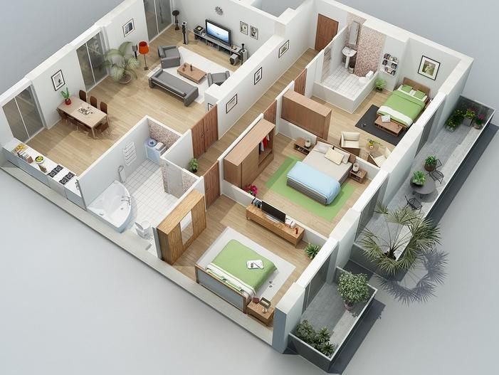 Home and Apartment, Amazing Design With Three Bedroom Greenery And - Apartment House Plans