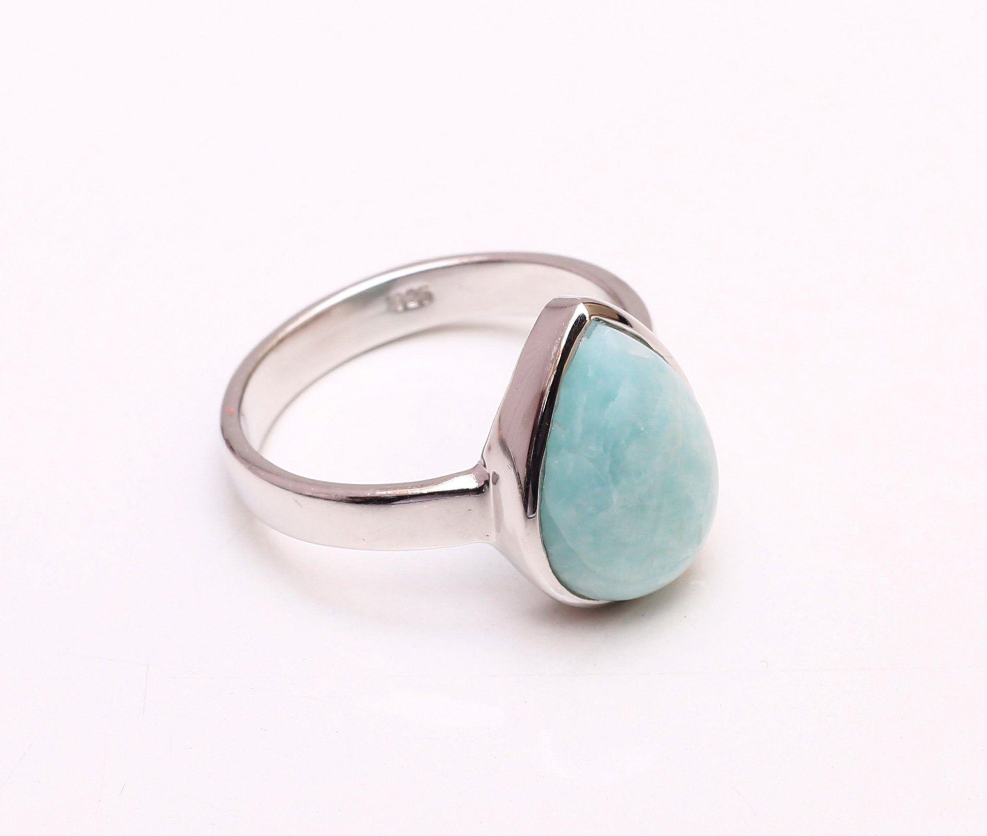 Natural Larimar Ring Larimar Silver Ring Sterling Silver Ring Solid Silver Bands Boho Ring Geometric Ring Gemstone Rings Silver Earrings Outfit Boho Rings