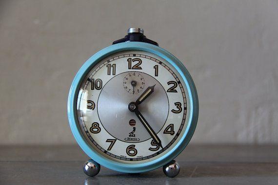 Cute Vintage French Jaz Alarm Clock Loft Decor Duck Egg Blue