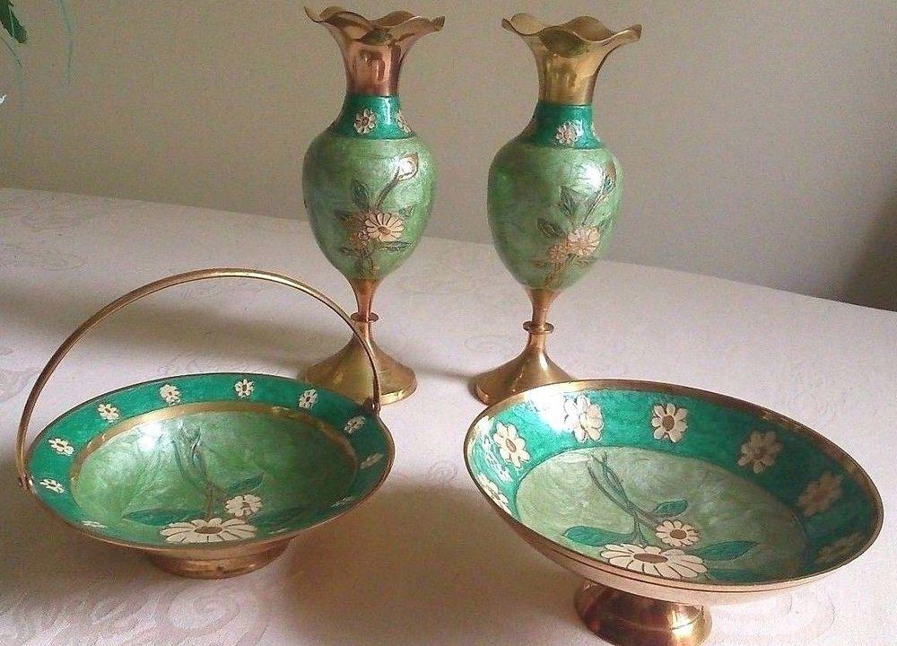 4 X Vintage Indian Green Embossed Enamelled Brass Floral Set 2