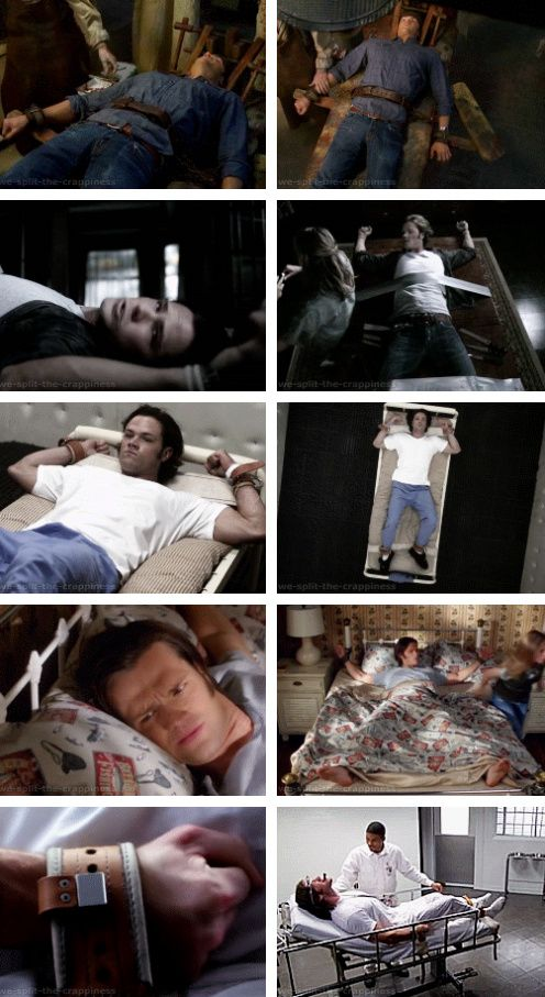 [gifset] Sam all tied up! 3x15 Time Is on My Side, 4x19 Jump the Shark, 5x11 Sam, Interrupted, 7x08 Season Seven, Time for a Wedding!, 7x17 The Born-Again Identity #SPN #Sam
