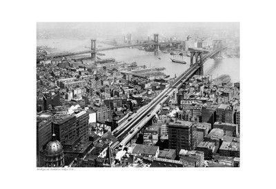 Brooklyn and Manhattan Bridges, 1916 Unknown Fine Art Print Poster