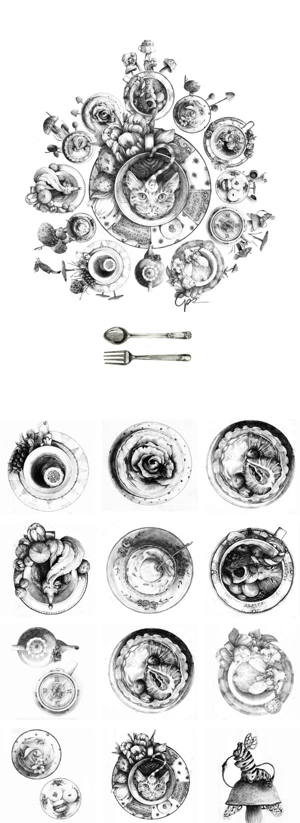 Who's Up for Tea?: Black and white version; pencil illustration inspired by Alice in Wonderland. As the case with some of my works, each of the plate were drawn separately in a separate piece of paper and assembled in Photoshop to create the final artwork.   instagram.com/chrs_r