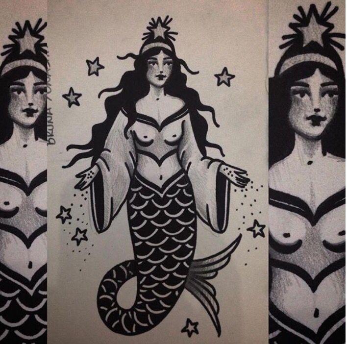 Iemanjá Inspired Old School Mermaid by Bruna Yonashiro