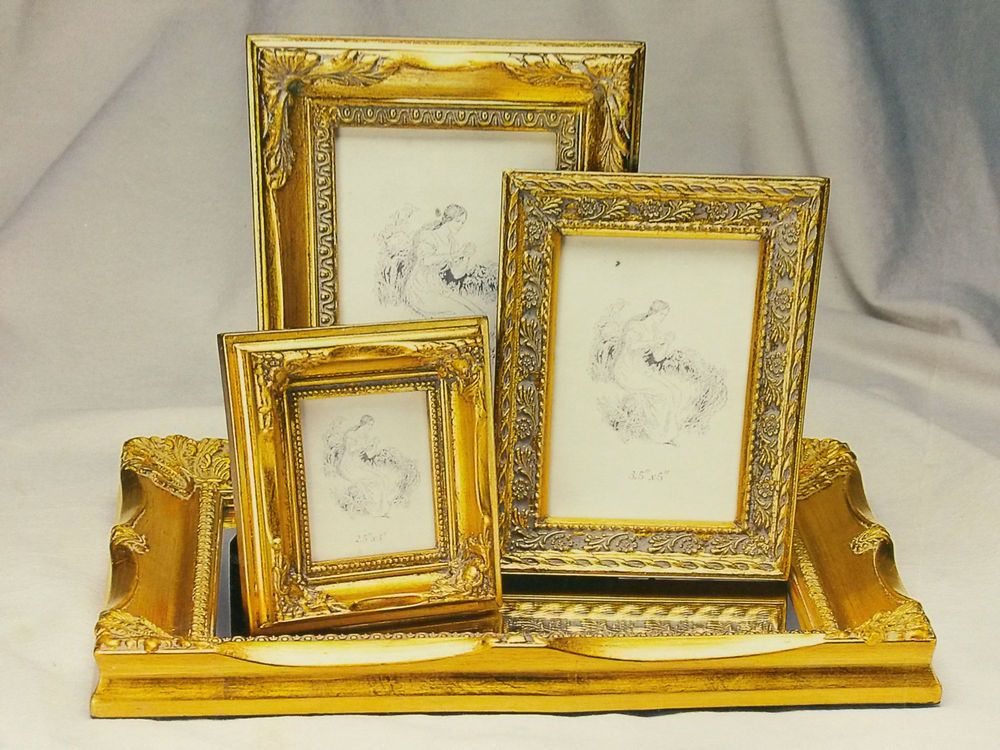 Melannco - 4 Piece Antique Gold Vanity Set with Mirror Tray & 3 ...