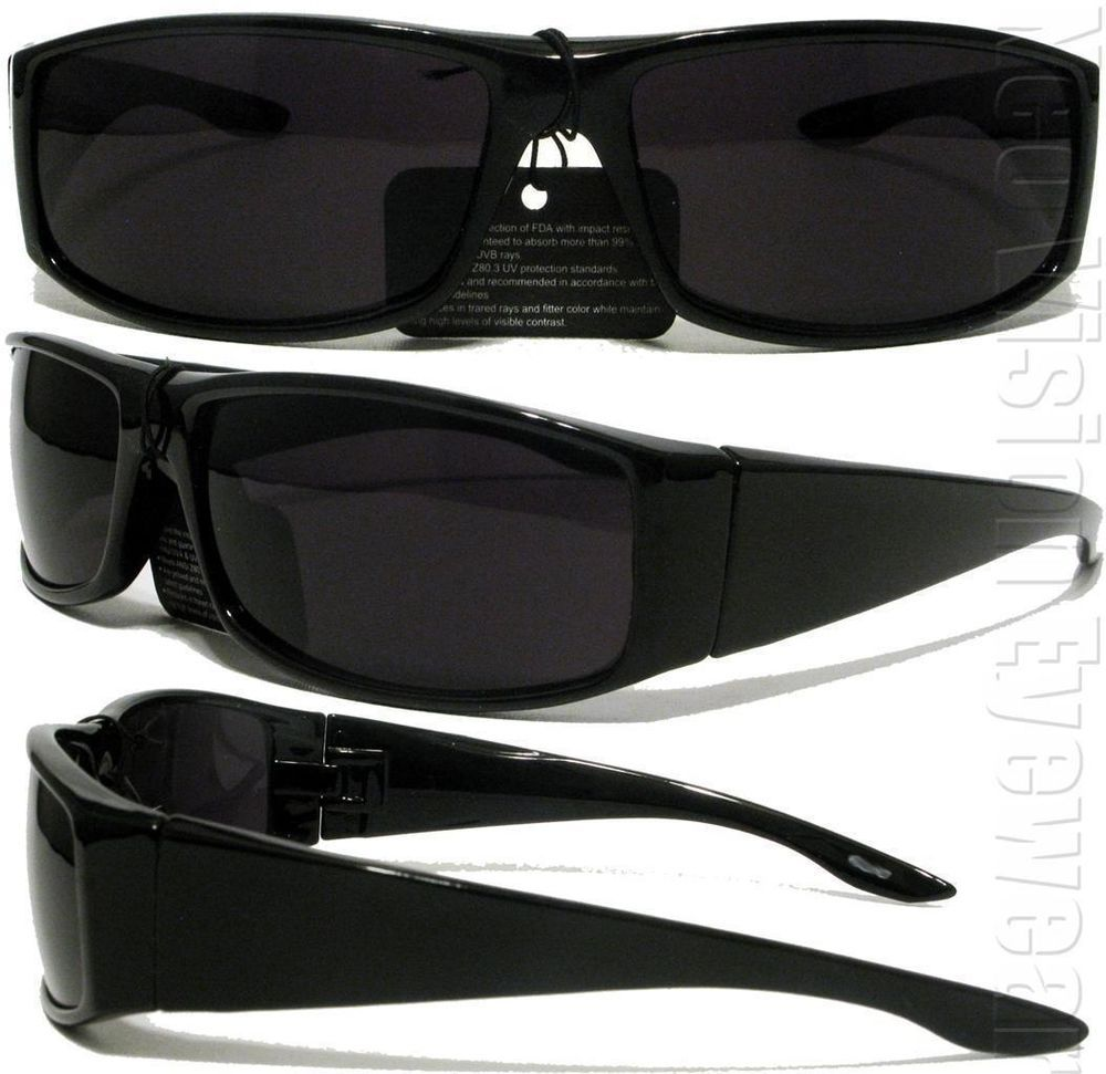 Locs Mens Cholo Biker UV400 Sunglasses LC01 Black