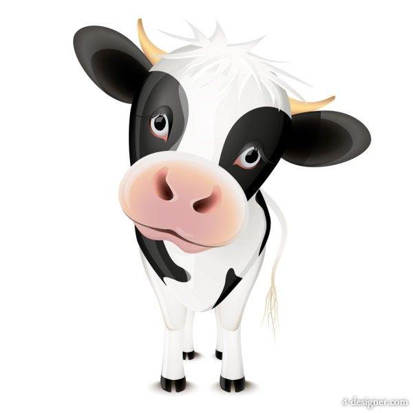 4 Designer Cute Cartoon Animal Image 02 Vector Material Cows Funny Cartoon Animated Cow Cartoon Animals