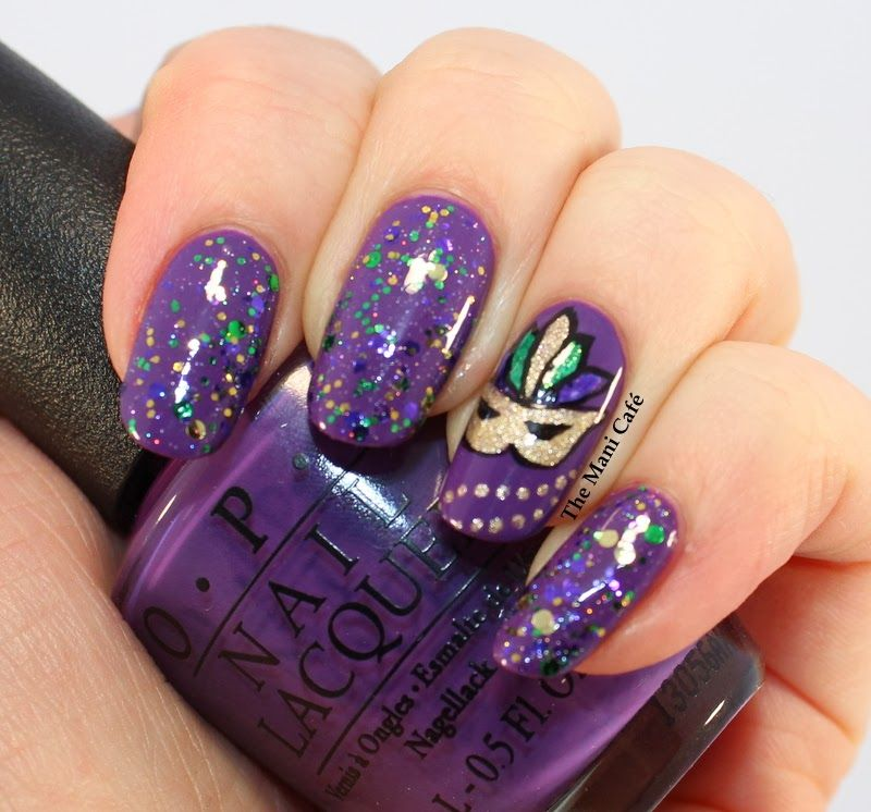 The Mani Café: Mardi Gras #nail #nails #nailart - Pretty Sure I'd Lose Most Of The Sequins And Glitter Within A Day