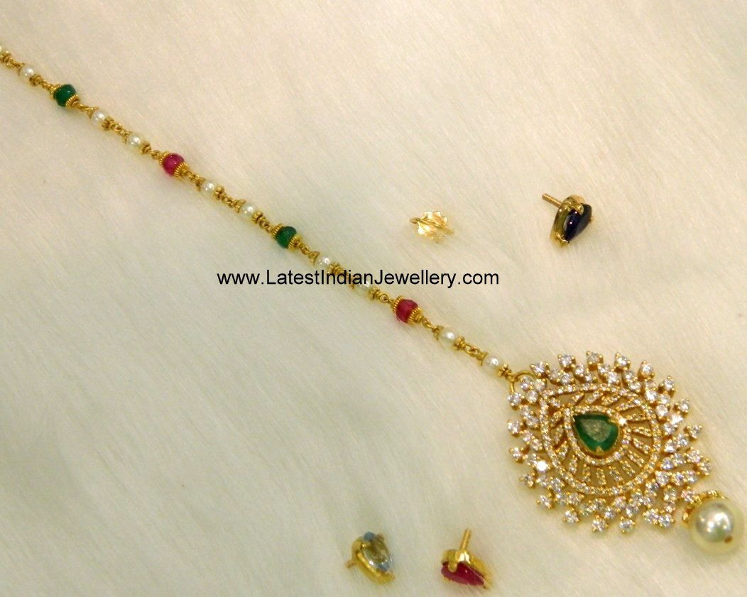 Golden maang tikka designs bridal jewellery bridal maang - Designer Gold Maang Tikka With Pearls Beaded Chain Attached To Detachable Cz Pendant In Gold The Multi Purpose Maang Tikka With Changeable Stones