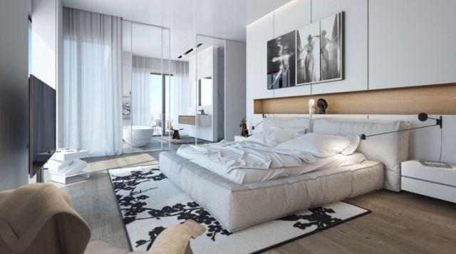 schlafzimmer modern gestalten helle farben weiß holztöne Meu - schlafzimmer gestalten farben