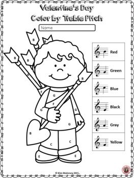 valentine coloring pages spanish | Valentine's Day Music Activities: Color by Music Notes and ...