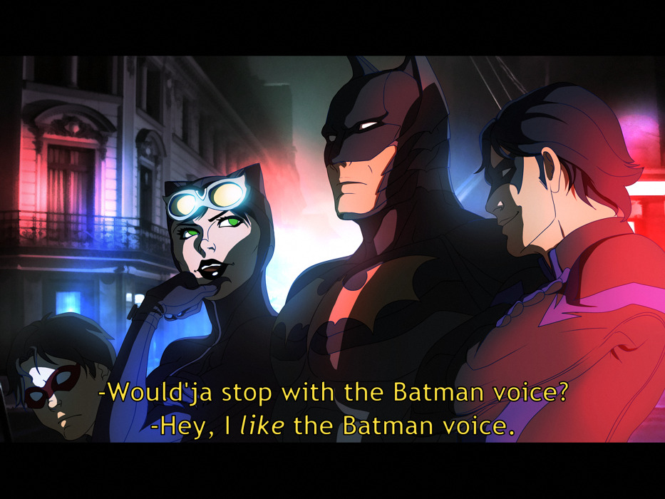 Ha ha! Nightwing and Catwoman arguing- but Batman doesn't care  He's