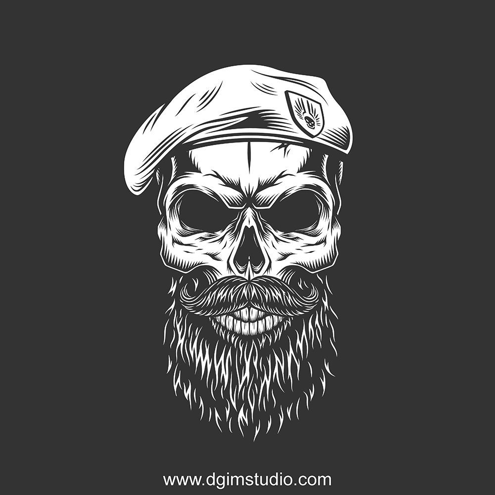 Skull In The Beret With Mustache And Beard Vector Custom Design Of