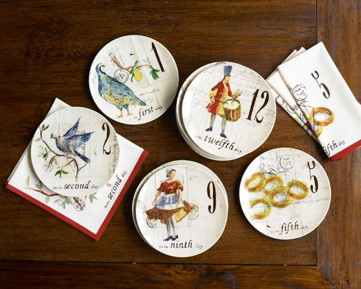 12 days of christmas dessert plates based on original watercolor illustrations by french painter marc lacaze each plate depicts a verse from one of the