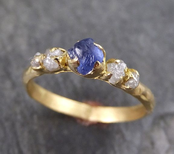 Raw Sapphire Diamond 18k Gold Engagement Ring Wedding Ring Custom One Of a Kind blue Gemstone Ring Three stone Ring