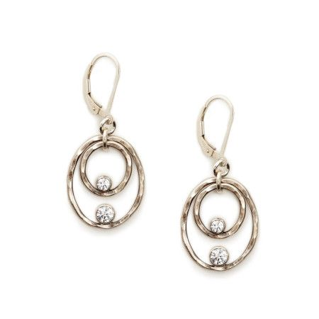 Two-Tiered Oval Earrings These sterling silver earrings are hand formed, hammered and oxidized. Each oval is accented with a white cz. The drape of this earring allows for movement, which highlights the gleaming finish and sparkle of the stones.