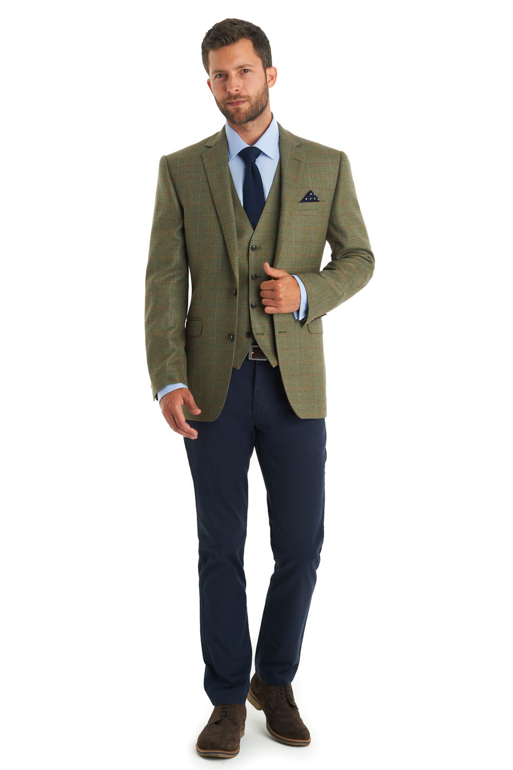 2d257dd46738a1 This men's Moss 1815 tailored fit green multi check jacket is single  breasted with two button