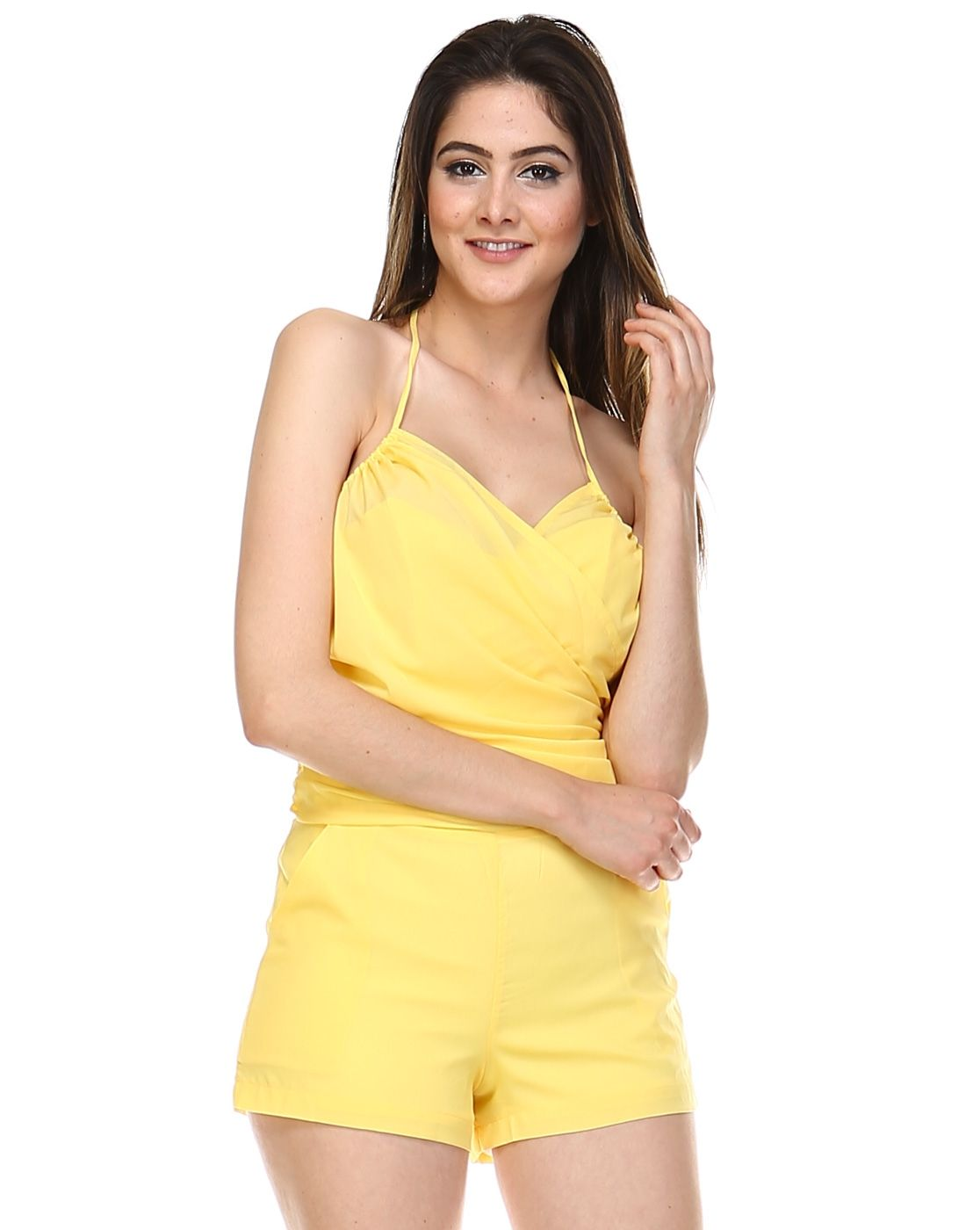 This One-Piece Silk Romper keeps you cool and fresh even when you are outdoors. It has spaghetti straps and shorts that fits the lower body. It is made of silk.