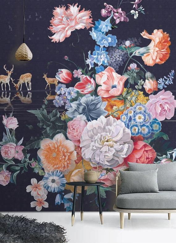 Beautiful Clours Flowers Wallpaper Colored Floral Mural