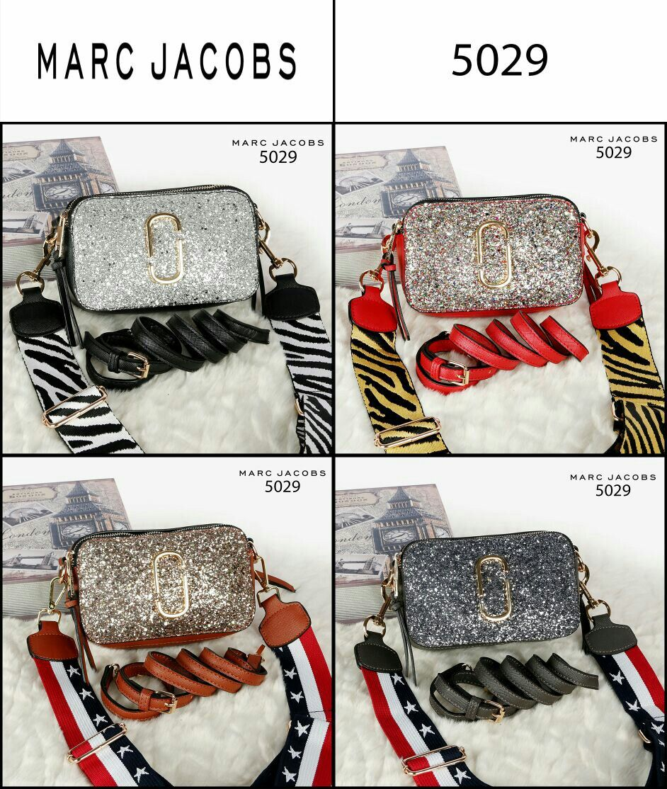 337e6f03f95f Marc Jacobs Snapshop Bag Doubel Take Small Glitter Double Strap Material Taiga  Leather Hardware Gold (
