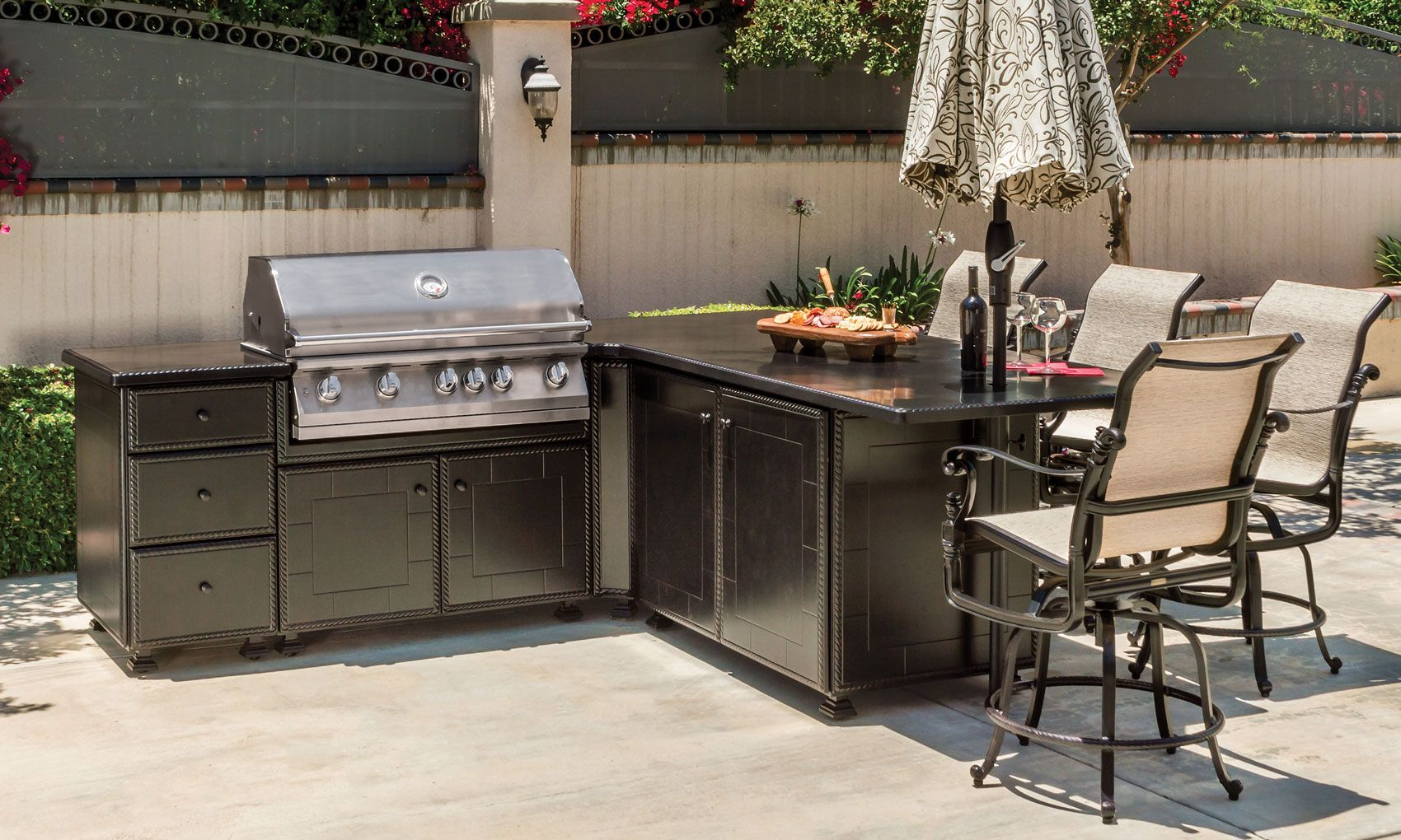 grill seating l shape island outdoor kitchens the great escape kitchen kitchen on outdoor kitchen island id=17783