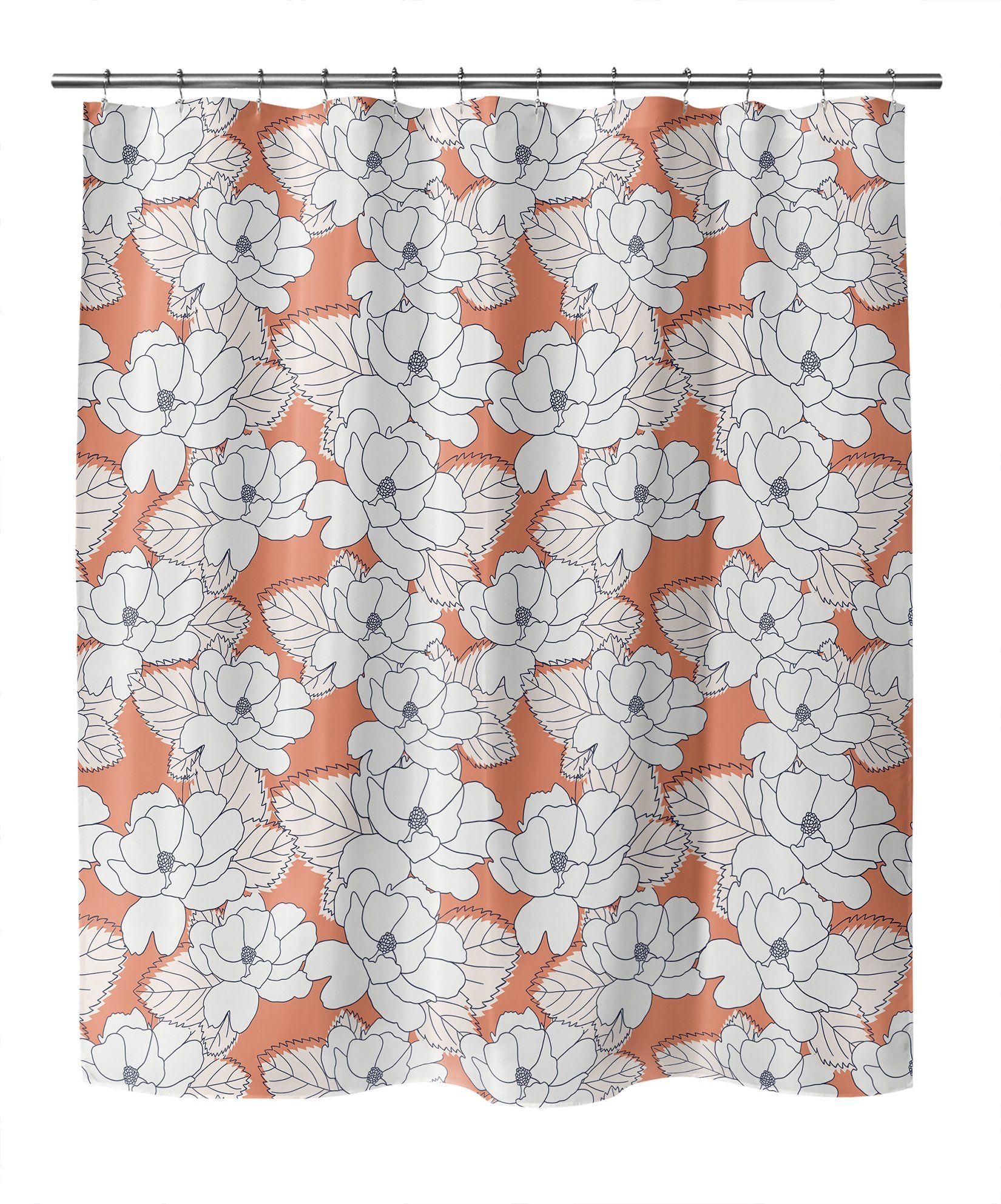 Photo of PEONY STENCIL Shower Curtain By Lemon Lovegood – 70in x 72in