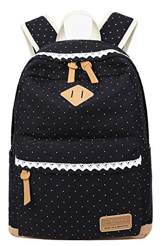 1d6ee0d35a6c Cute Lightweight Canvas Backpack for Teens Girls Lace Dot Casual Shoulder  Bag School Bookbags Black     Learn more by visiting the image link.