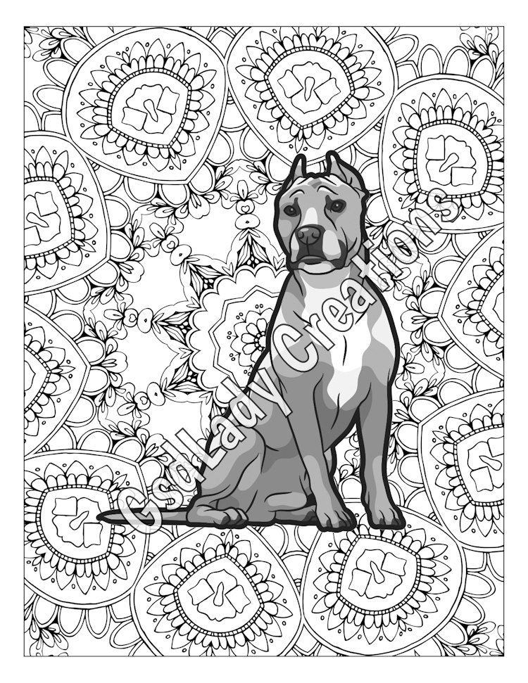 Greyscale Coloring Page, American Staffordshire, Pit Bulls, Mandala ...