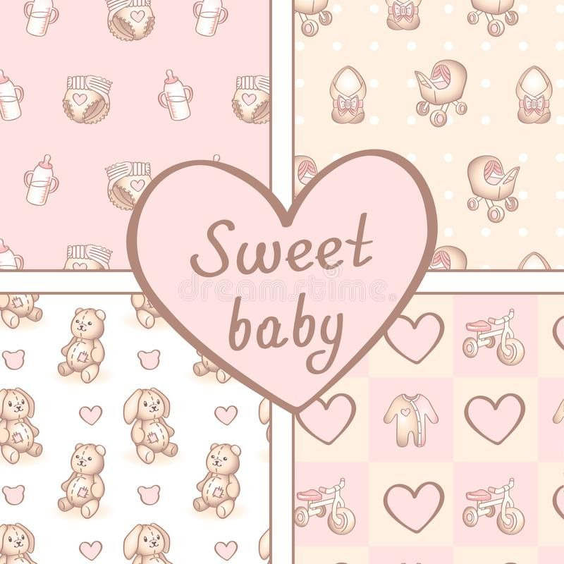 Vector Set Of Four Seamless Baby Girl Patterns Background For