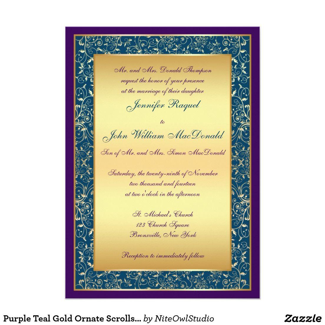 Wedding invitations wedding invitation purple gold ornate - Purple Teal Gold Ornate Scrolls Wedding Invite