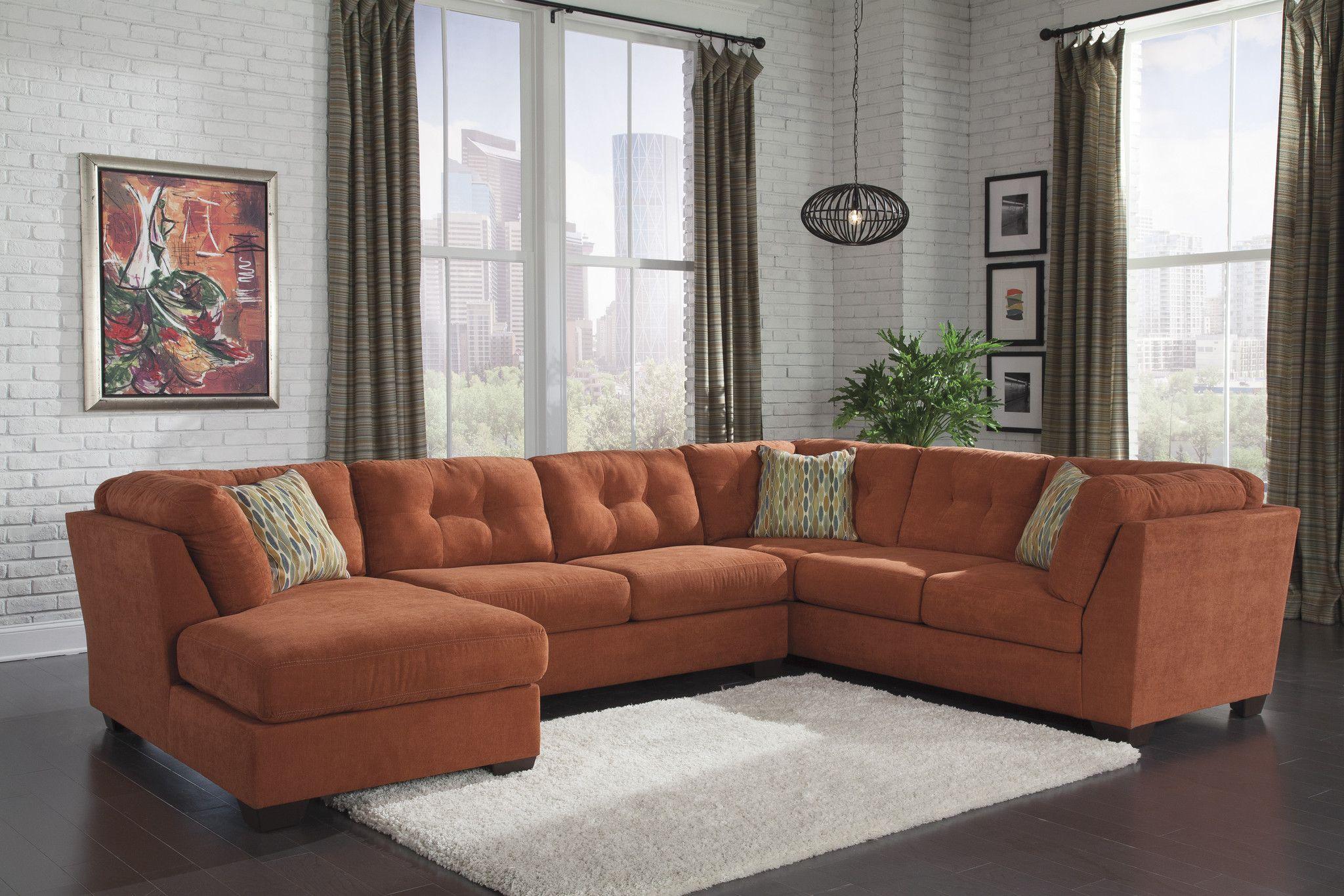 Ashley Furniture Delta City Orange Sectional Left 1970116+34 ...