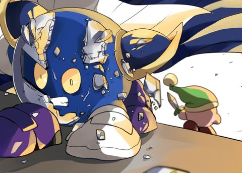 Woah, Meta Knight! Your eyes are spost to be white