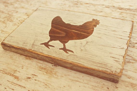 Rustic Wooden Rooster Sign Chicken Rooster Wall Art by kashturana