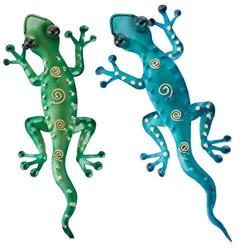 Gecko Decorative Blue Metal Wall Hanging Home /& Garden Decor