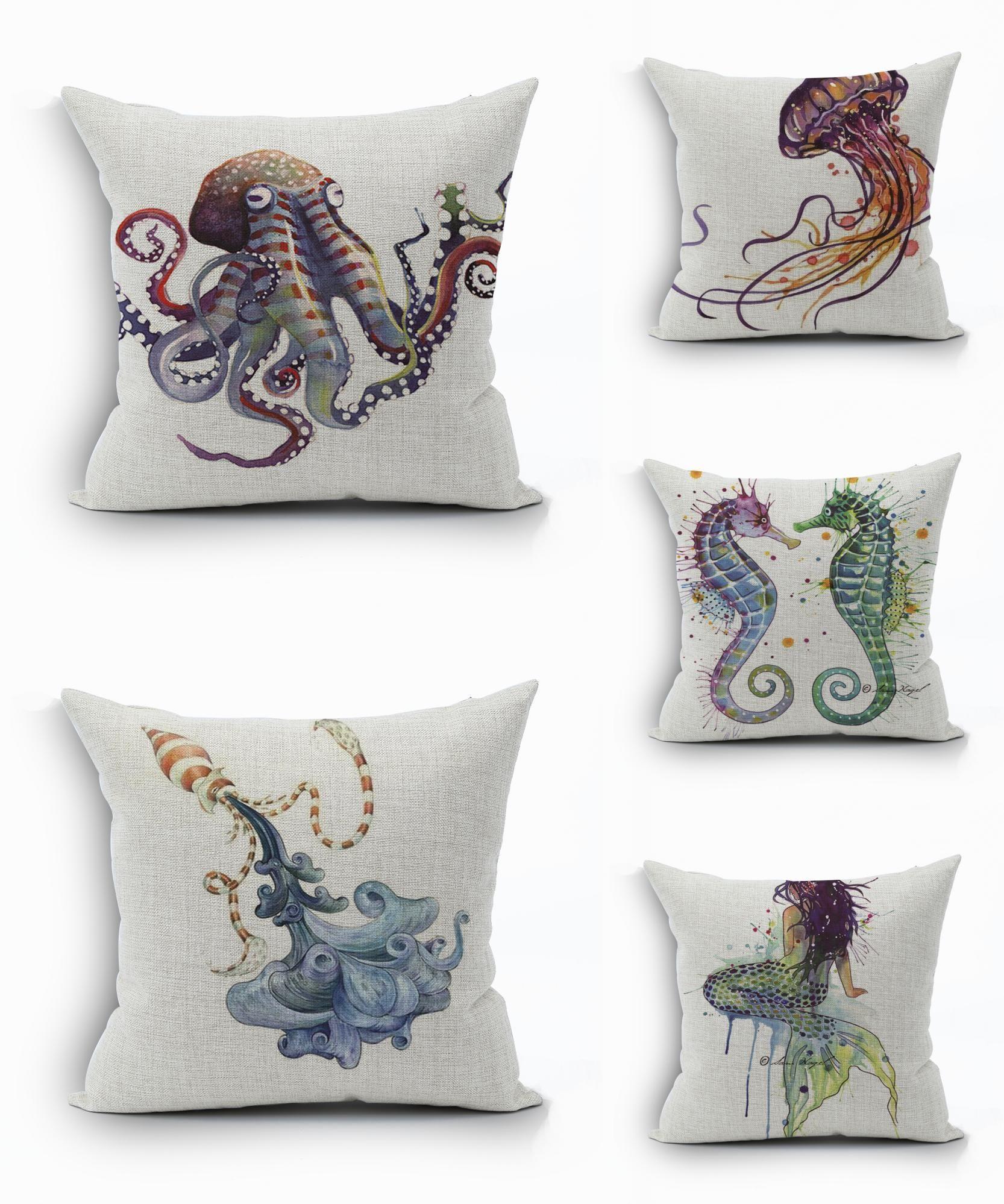 Visit To 2016 Real Capa De Almofada Decorative Pillows Sea Marine Style Beach Cushion Cover Pionate Printed Sofa Throw Pillow Case