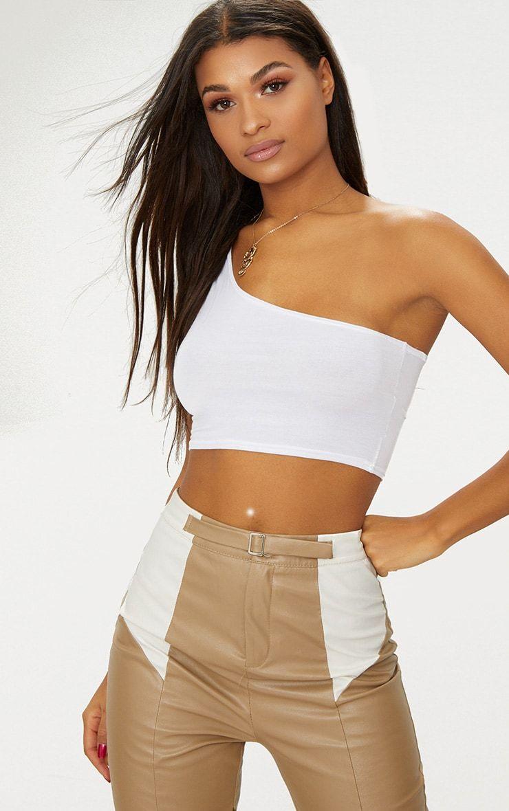 643c902960f White Basic Jersey One Shoulder Crop Top