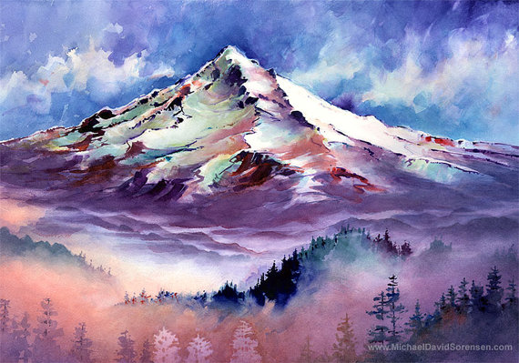 Mt Hood Oregon Watercolor Painting Print Pacific Northwest