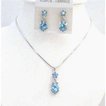 Aquamarine Crystals Inexpensive Bridesmaid Bridal Wedding Jewelry