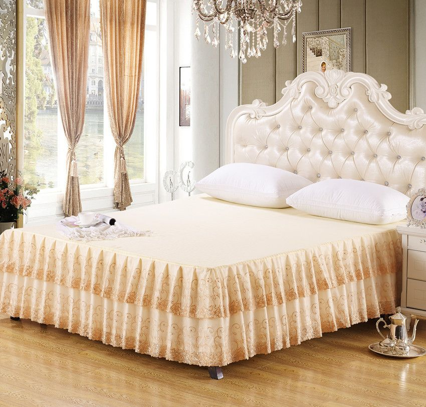 Luxury King Gold Embroidered Lace Bed Skirt Bedspread
