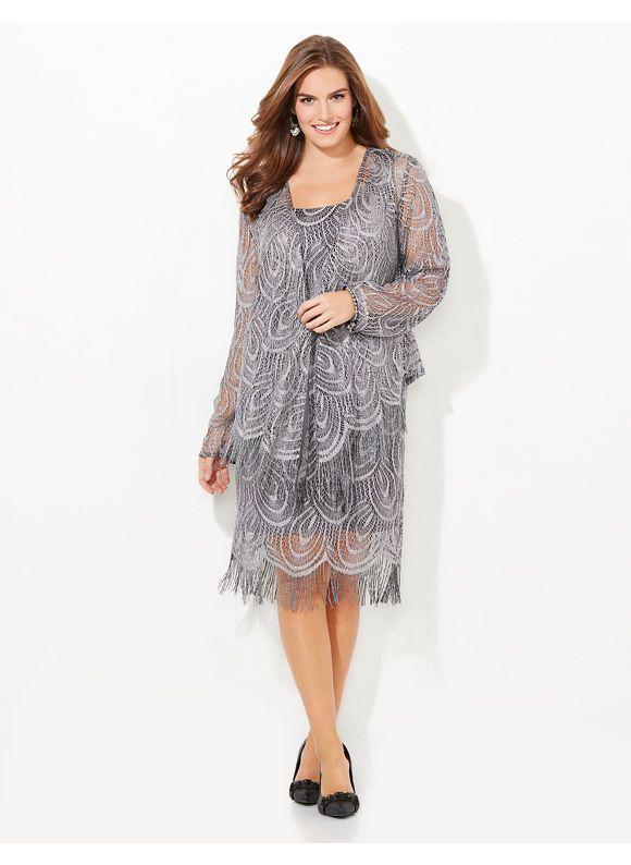 c7a4e1fd3f24 Catherines Plus Size Fringe Fete Jacket Dress Womens Size  26W18W16W24W22W20W Grey $199.00 AT vintagedancer.com